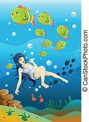 leány, úszás, óceán