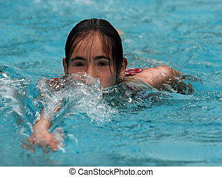 leány, úszás
