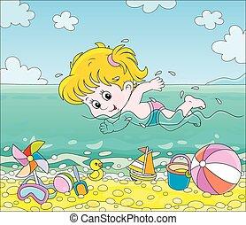 leány, úszás, tengerpart, víz