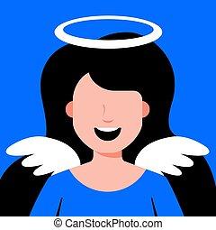 leány, angyal, wings.