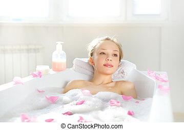 leány, bájos, bágyasztó, fürdőkád