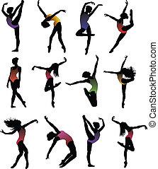 leány, balett, körvonal, állhatatos, táncol