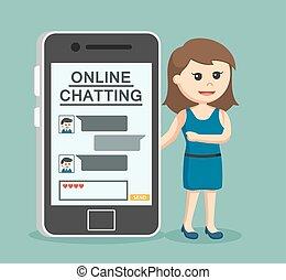 leány, barát, neki, beszélgető, online