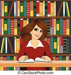 leány, barátságos, diák, tanulás, könyvtár
