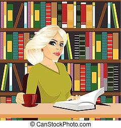 leány, barátságos, diák, tanulás, könyvtár, szőke