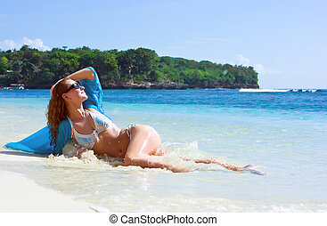 leány, barna nő, tengerpart, bágyasztó
