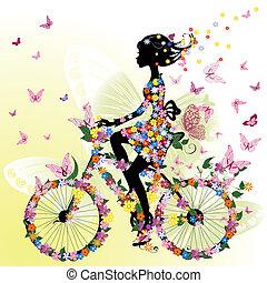 leány, bicikli, romantikus