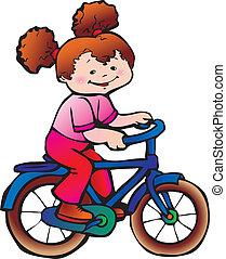 leány, bike.