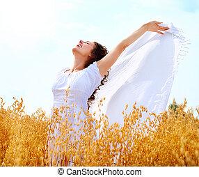 leány, birtoklás, boldog, móka, mező, búza, gyönyörű