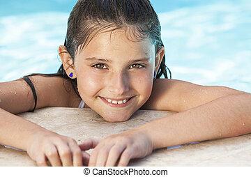 leány, boldog, úszás, gyermek, pocsolya