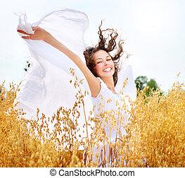 leány, boldog, mező, búza, gyönyörű