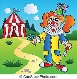 leány, cirkusz, karikatúra, bohóckodik, sátor