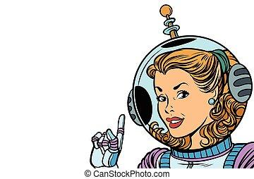 leány, elszigetelt, white háttér, űrhajós