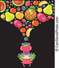 leány, eper, series), (fruity