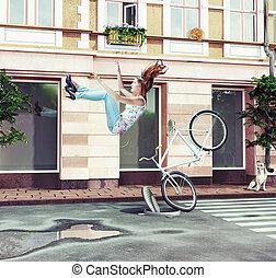 leány, esés, bicikli, neki, el