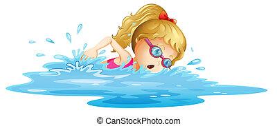 leány, fiatal, úszás