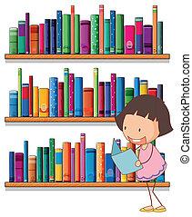 leány, fiatal, felolvasás, könyvespolcok, mosolygós, elülső