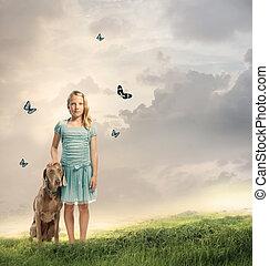 leány, fiatal, neki, kutya