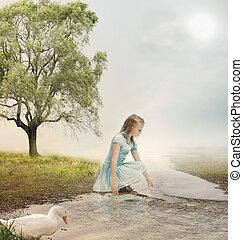 leány, fiatal, patak