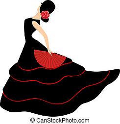 leány, flamenco, rajongó, dancer., spanyol