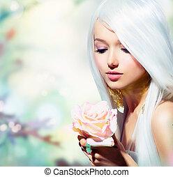 leány, flower., képzelet, eredet, rózsa, gyönyörű