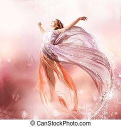 leány, flying., fairy., fújás, varázslatos, ruha, gyönyörű