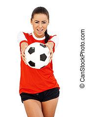 leány, focilabda, boldog
