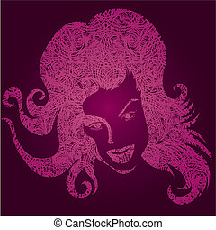leány, grunge, ábra, vektor, rózsaszínű