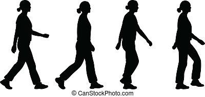 leány, gyalogló