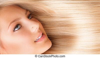 leány, hair., szőke, hosszú, gyönyörű, szőke