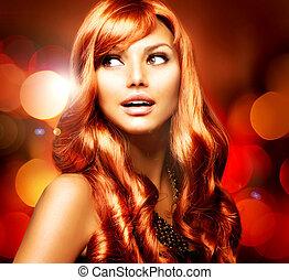leány, haj, felett, háttér, piros, hunyorgó, hosszú, fényes, gyönyörű
