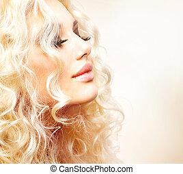 leány, haj, göndör, szőke, gyönyörű