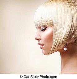leány, haj, hair., egészséges, szőke, rövid, gyönyörű