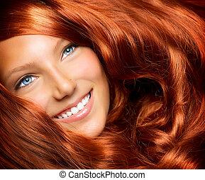leány, haj, hair., hosszú, göndör, egészséges, piros, gyönyörű