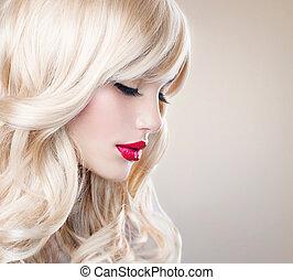 leány, haj, hair., szőke, hullámos, egészséges, hosszú, gyönyörű, fehér