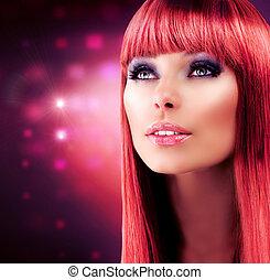 leány, haj, hajú, portrait., formál, piros, egészséges, hosszú, gyönyörű