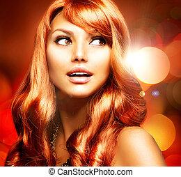 leány, haj, hosszú, egészséges, piros, gyönyörű