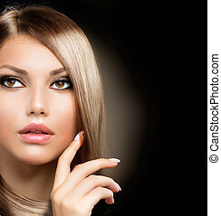 leány, haj, szépség, egészséges, hosszú