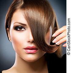 leány, haj, szépség, hair., barna, egészséges, hosszú