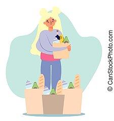 leány, hirdetőtábla, emberek, sok, megvásárol, élelmiszer, élelmiszer áruház, pantalló