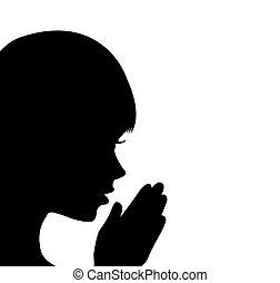 leány, imádkozás, fiatal