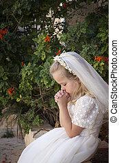 leány, imádkozás, lelki közösség, jámbor, először