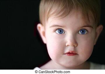 leány, imádnivaló, lágy, totyogó kisgyerek, film, összpontosít