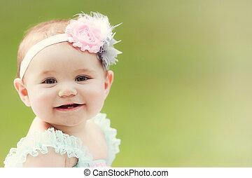 leány, japán, kívül, mosolygós, totyogó kisgyerek, kaukázusi