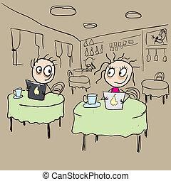 leány, kávéház, flörtölés, kacsingat