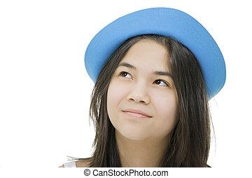 leány, kék, feláll, fiatal, figyelmes, elszigetelt, kalap, tízenéves kor, expression., látszó, gyönyörű, fehér