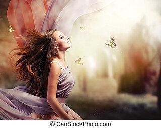 leány, képzelet, varázslatos, eredet, kert, gyönyörű, misztikus