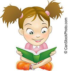 leány, könyv, felolvasás, ábra, fiatal