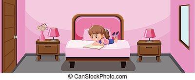 leány, könyv, felolvasás, ágy