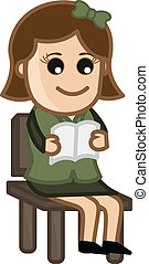 leány, könyv, felolvasás, fiatal